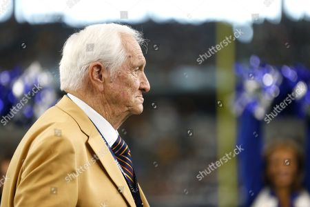 Hall Of Fame inductee Gil Brandt, right, was presented with his HOF ring by Dallas Cowboys team owner Jerry Jones, ]during a half time ceremony during an NFL football game against the Green Bay Packers in Arlington, Texas