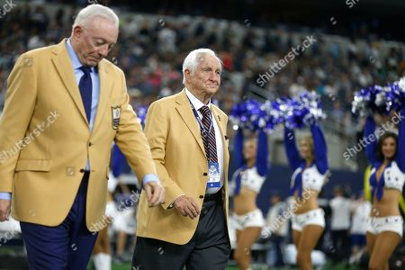 Gil Brandt; Jerry Jones. Hall Of Fame inductee Gil Brandt, right, was presented with his HOF ring by Dallas Cowboys team owner Jerry Jones, left, during a half time ceremony during an NFL football game against the Green Bay Packers in Arlington, Texas