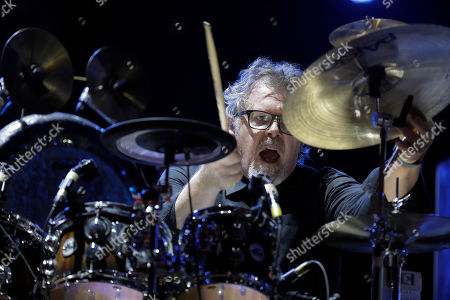 Stock Photo of Drummer Pat Mastelotto of the band King Crimson performs at the Rock in Rio music festival in Rio de Janeiro, Brazil