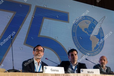 Fernando Garea, EFE President, (L) speaks during the panel 'The future of news, a Latin American and Hispanic Perspective' during the breakfast offered by EFE during the 75th General Assembly of the Inter American Press Association (IAPA), in Coral Gables, Florida, USA, 06 October 2019. Next to Garea is Vinicius Mota, from Brazil (C) and Luis Fernandez, from Telemundo.