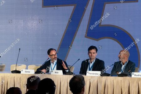 Stock Image of Fernando Garea, EFE President, (L) speaks during the panel 'The future of news, a Latin American and Hispanic Perspective' during the breakfast offered by EFE during the 75th General Assembly of the Inter American Press Association (IAPA), in Coral Gables, Florida, USA, 06 October 2019. Next to Garea is Vinicius Mota, from Brazil (C) and Luis Fernandez, from Telemundo.