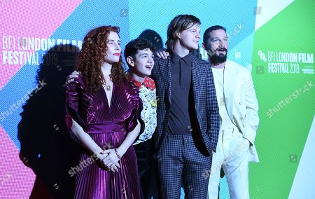 """From Director Alma Har'el, and actors/cast members Noah Jupe, Lucas Hedges and Shia LaBeouf arrive to the UK premiere of """"Honey Boy"""" in Leicester square in London, Britain, 06 October 2019. The 2019 BFI Film Festival runs from 02 to 13 October."""