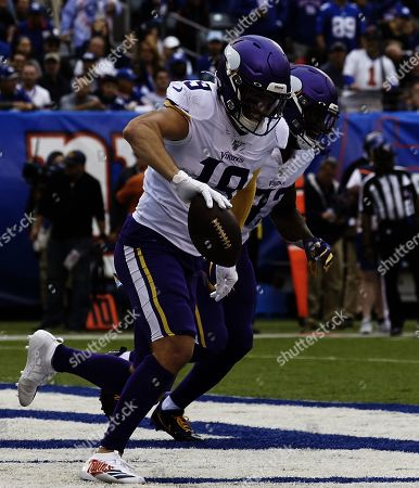 , 2019, East Rutherford, New Jersey, USA: Minnesota Vikings wide receiver Adam Thielen (19) celebrates after scoring a touchdown during a NFL game between the Minnesota Vikings and the New York Giants at MetLife Stadium in East Rutherford, New Jersey. The Vikings defeated the Giants 28-10