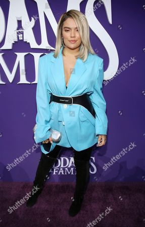 """Karol G attends the Los Angeles premiere of """"The Addams Family"""" at Westfield Century City Mall on"""