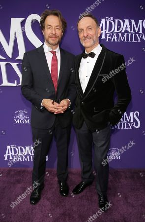 "Jeff Danna, Mychael Danna. Jeff Danna, left, and Mychael Danna attend the Los Angeles premiere of ""The Addams Family"" at Westfield Century City Mall on"