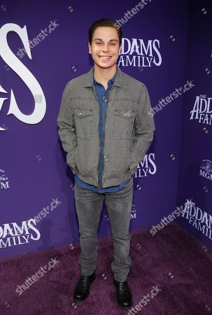 """Jake T. Austin attends the Los Angeles premiere of """"The Addams Family"""" at Westfield Century City Mall on"""