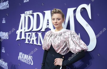 "Chloe Grace Moretz attends the Los Angeles premiere of ""The Addams Family"" at Westfield Century City Mall on"
