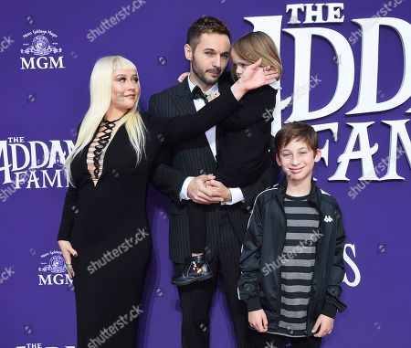 """Stock Picture of Christina Aguilera, Max Bratman, Summer Rain Rutler, Matthew Rutler. Christina Aguilera arrives with, from left, her husband Matthew Rutler, Summer Rain Rutler and Max Bratman at the Los Angeles premiere of """"The Addams Family"""" at Westfield Century City on"""