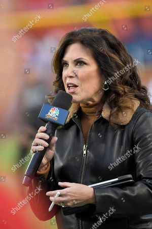 Michele Tafoya with NBC Sports in action before an NFL football game between the Kansas City Chiefs and the Indianapolis Colts, in Kansas City, Mo