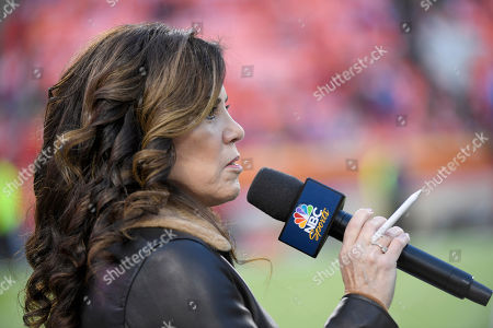 Michele Tafoya with NBC Sports talks before an NFL football game between the Kansas City Chiefs and the Indianapolis Colts, in Kansas City, Mo