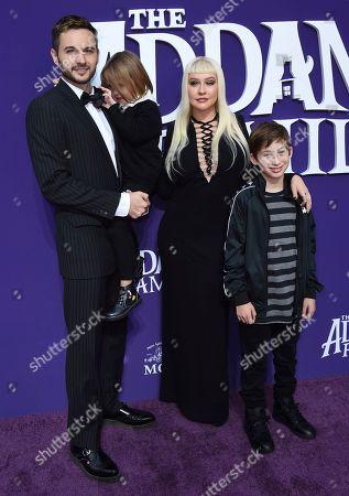 "Christina Aguilera, Max Bratman, Summer Rain Rutler, Matthew Rutler. Christina Aguilera arrives with, from left, her husband Matthew Rutler, Summer Rain Rutler and Max Bratman at the Los Angeles premiere of ""The Addams Family"" at Westfield Century City on"