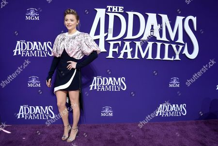 "Chloe Grace Moretz arrives at the Los Angeles premiere of ""The Addams Family"" at Westfield Century City on"
