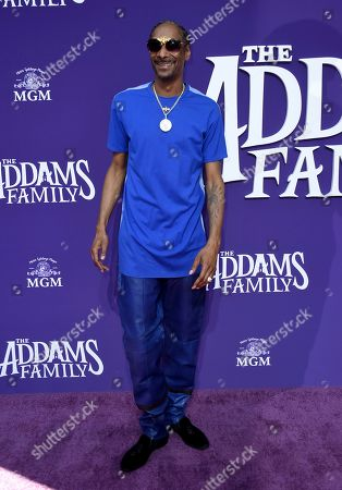 """Snoop Dogg arrives at the Los Angeles premiere of """"The Addams Family"""" at Westfield Century City on"""