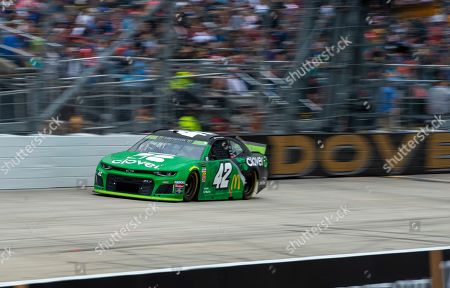 Kyle Larson No. drives during the NASCAR Cup Series playoff auto race, at Dover International Speedway in Dover, Del