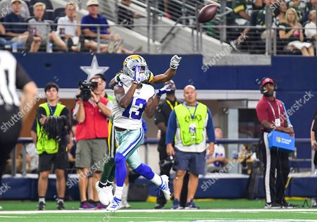 Stock Photo of Dallas Cowboys wide receiver Michael Gallup #13 makes a reception for touchdown in the third quarter during an NFL game between the Green Bay Packers and the Dallas Cowboys at AT&T Stadium in Arlington, TX Green Bay defeated Dallas 34-24 Albert Pena/CSM