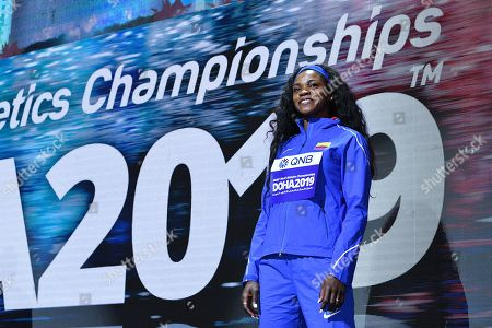 Stock Picture of Caterine Ibarguen (COL) - Women's Triple Jump Medal ceremony at Khalifa International Stadium in Doha, Qatar.