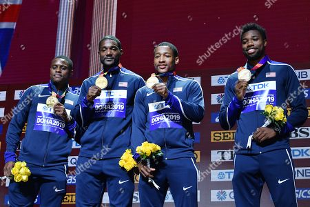 Stock Image of Christian Coleman, Justin Gatlin, Michael Rodgers, Noah Lyles (USA) - Men's 400m Relay Medal ceremony at Khalifa International Stadium in Doha, Qatar.