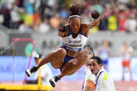 Stock Image of Shara Proctor (GBR) - Women's Long Jump Final at Khalifa International Stadium in Doha, Qatar.