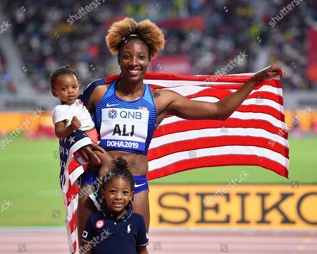 Nia Ali (USA) - Women's 100m Hurdles Final at Khalifa International Stadium in Doha, Qatar.