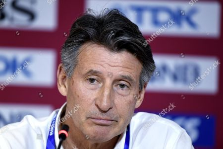 IAAF's president Britain's Lord Sebastian Coe gives a press conference