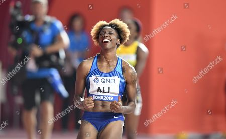 Nia Ali of the United States reacts after winning the women's 100m hurdles final