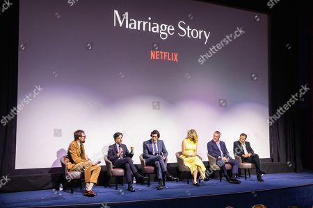Noah Baumbach, Adam Driver, Laura Dern, Ray Liotta and David Heyman, at Netflix's Marriage Story LFF Bafta Q&A on 6th October 2019 (Credit StillMoving.net / Netflix)