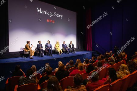 Noah Baumbach, Adam Driver, Laura Dern, Ray Liotta and David Heyman, at Netflix's Marriage Story LFF Bafta Q&A