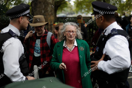 Jenny Jones, British politician and member of the Green Party talks to police officers as they arrest climate protestors who blocked a road in central London . London Police say they've arrested 21 climate change activists over the past few days as the Extinction Rebellion group attempts to draw attention to global warming
