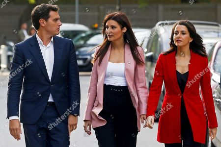 Stock Image of Pro-Spain Ciudadanos (Citizens) party's leader Albert Rivera (L), party's Catalan faction head Lorena Roldan (C) and Ciudadanos' Spokeswoman at Lower Chamber, Ines Arrimadas, arrive to Catalan regional Parliament in Barcelona, northeastern Spain, 07 October 2019. The regional parliament debates and votes the non-confidence motion filed against Catalan regional President Torra by Ciudadanos party.