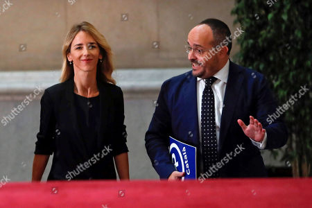 Spanish People's Party Spokeswoman at Lower Chamber, Cayetana Alvarez de Toledo (L), chats with party's Catalan faction head, Alejandro Fernandez, upon their arrival to Catalan regional Parliament in Barcelona, northeastern Spain, 07 October 2019. The regional parliament debates and votes the non-confidence motion filed against Catalan regional President Torra by Ciudadanos party.