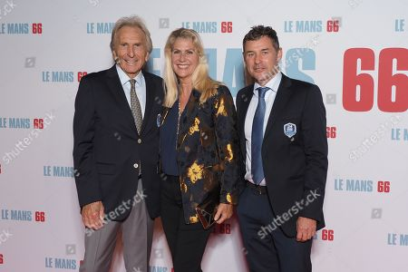 Stock Picture of (L-R) Pilots Dereck Bell (5 times winner of the '24 hours of Le Mans') with his wife and Tom Kristensen (9 times winners of the '24 hours of Le Mans')