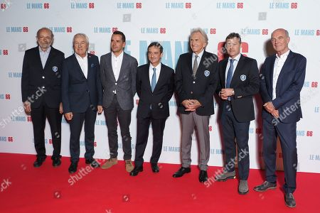 Stock Image of (L-R) Pilots Henri Pescarolo (33 participation at the '24 hours' of Le Mans), Gerard Larrousse (8 times winner of the '24 hours of Le Mans'), Benoit Treluyer, Pierre Fillon, Dereck Bell (5 times winner of the '24 hours of Le Mans'), Tom Kristensen (9 times winners of the '24 hours of Le Mans' and a guest