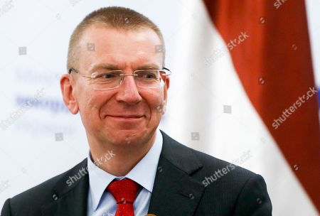 Stock Picture of Latvian Foreign Minister Edgars Rinkevics smiles during a joint new conference with Ukrainian Foreign Minister Vadym Prystaiko following their talks in Kyiv, Ukraine