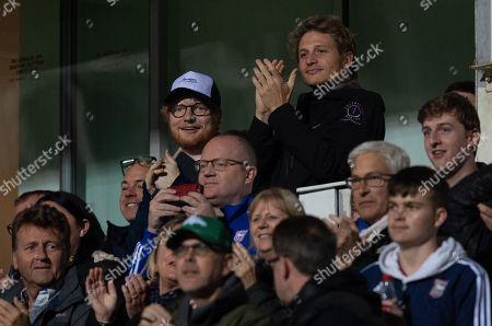 Singer Ed Sheeran at Portman Road celebrates the goal of Danny Rowe of Ipswich Town, 3-0