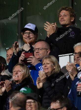 Ed Sheeran celebrates the third Ipswich Town goal, 3-0