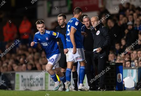Stock Picture of Tommy Hughes replaces James Wilson of Ipswich Town