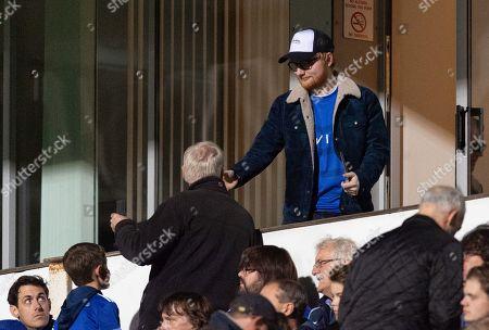 Ed Sheeran at Portman Road interacting with fans