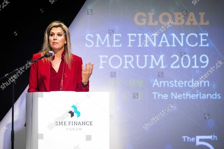 Dutch Queen Maxima gives the opening speech at the fifth Global SME Finance Forum, in Schiphol, the Netherlands, 07 October 2019. The forum focuses on global development of small and medium-sized enterprises (SMEs).