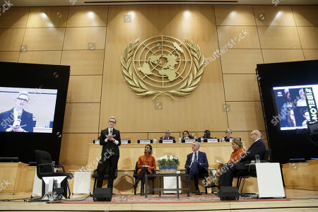 Australian actress and UNHCR goodwill ambassador Cate Blanchett,left, next to Italian Filippo Grandi, 3rd left, UN High Commissioner for Refugees, speaks at a High-Level Segment on Statelessness, during the 70th annual meeting of the UNHCR Executive Committee, at the European headquarters of the United Nations in Geneva, Switzerland, 07 October 2019.