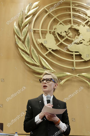 Australian actress and UNHCR goodwill ambassador Cate Blanchett speaks at a High-Level Segment on Statelessness, during the 70th annual meeting of the UNHCR Executive Committee, at the European headquarters of the United Nations in Geneva, Switzerland, 07 October 2019.
