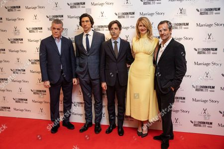 Ray Liotta, Adam Driver, Noah Baumbach, Laura Dern, David Heyman. Ray Liotta, Adam Driver, Noah Baumbach, Laura Dern and David Heyman pose for photographers upon arrival at the premiere of the film 'Marriage Story' which is screened as part of the London Film Festival, in central London
