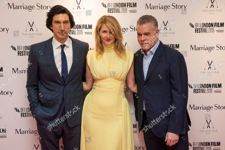 Ray Liotta, Adam Driver, Laura Dern. Ray Liotta, Adam Driver and Laura Dern pose for photographers upon arrival at the premiere of the film 'Marriage Story' which is screened as part of the London Film Festival, in central London