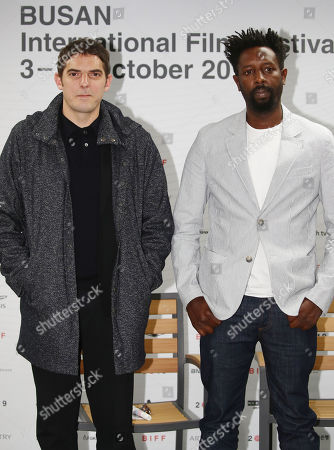 Ladj Ly (R) and actor Damien Bonnard pose for a photo during a press meeting at the Busan International Film Festival in Busan, South Korea, 07 October 2019.