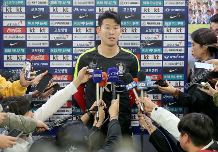 South Korean Tottenham Hotspur attacker Son Heung-min meets the press at the National Football Center in Paju, north of Seoul, South Korea, 07 October 2019. He returned home to join the national squad's training session for its upcoming World Cup regional preliminaries. South Korea will vie with Sri Lanka in Hwaseong, south of Seoul, on 10 October and North Korea in its capital Pyongyang on 15 October.