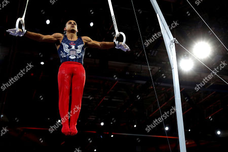 Stock Picture of Trevor Howard of the U.S. performs on the rings during men's qualifying sessions for the Gymnastics World Championships in Stuttgart, Germany