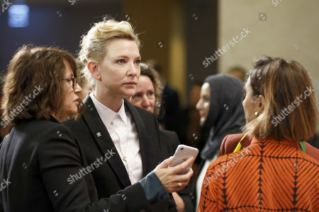 Australian actress and UNHCR goodwill ambassador Cate Blanchett, center, arrives for the High-Level Segment on Statelessness, during the 70th annual meeting of the UNHCR Executive Committee, at the European headquarters of the United Nations in Geneva, Switzerland, 07 October 2019.