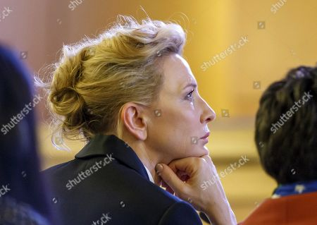 Australian actress and UNHCR goodwill ambassador Cate Blanchett watches a video, during the 70th annual meeting of the UNHCR Executive Committee, at the European headquarters of the United Nations in Geneva, Switzerland, 07 October 2019.