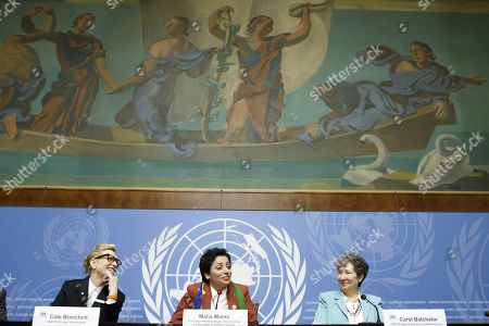 Maha Mamo, left, former stateless refugee, sitting next to Australian actress and UNHCR goodwill ambassador Cate Blanchett, left, and Carol Batchelor, right, UNHCR Special Advisor on Statelessness, talks to the media during a press conference after speaking at a High-Level Segment on Statelessness to the 70th annual meeting of the UNHCR Executive Committee, at the European headquarters of the United Nations in Geneva, Switzerland, 07 October 2019.