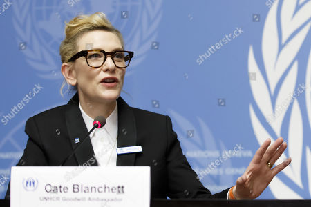 Australian actress and UNHCR goodwill ambassador Cate Blanchett talks to the media during a press conference after speaking at a High-Level Segment on Statelessness to the 70th annual meeting of the UNHCR Executive Committee, at the European headquarters of the United Nations in Geneva, Switzerland, 07 October 2019.
