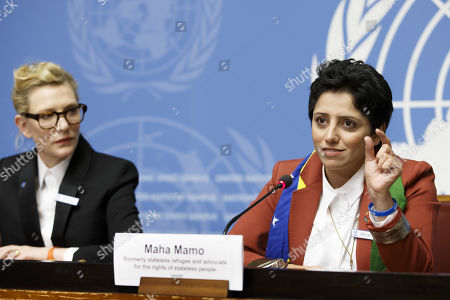 Stock Picture of Maha Mamo, right, former stateless refugee, sitting next to Australian actress and UNHCR goodwill ambassador Cate Blanchett, left, talks to the media during a press conference after speaking at a High-Level Segment on Statelessness to the 70th annual meeting of the UNHCR Executive Committee, at the European headquarters of the United Nations in Geneva, Switzerland, 07 October 2019.